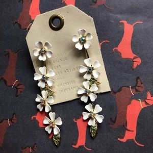 NWT Anthropologie white crystal floral earrings